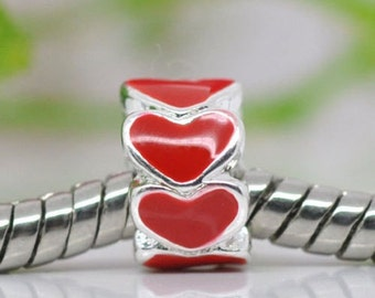 Red Heart Enamel Bead