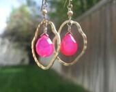 Hot Pink Chalcedony and Hoop Earrings
