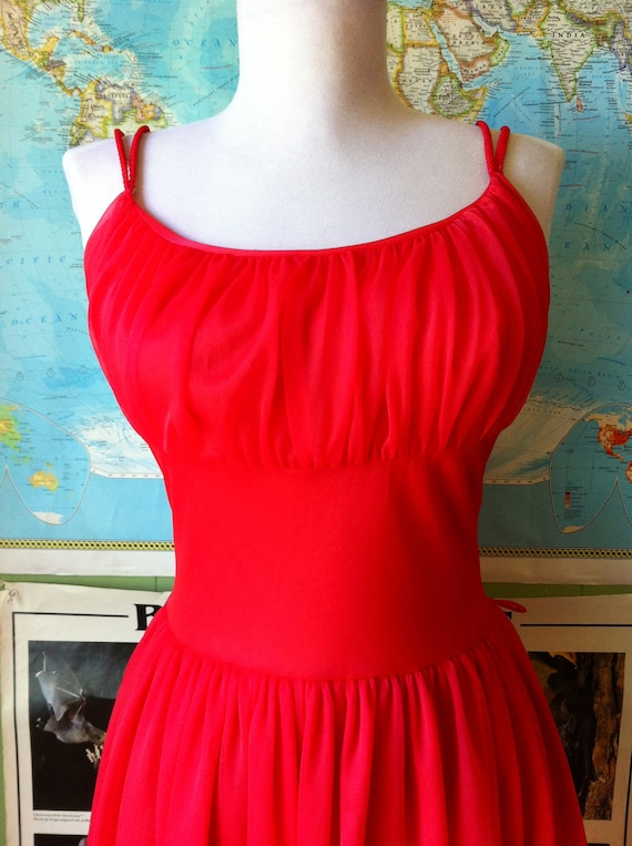 Crimson Red 1950's Lydia Slip Dress
