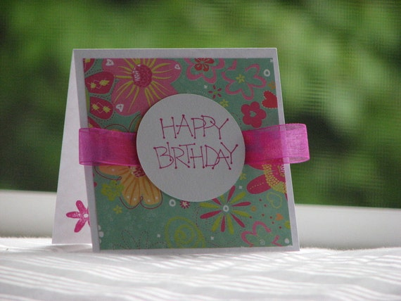Pink Floral Birthday Greeting Card