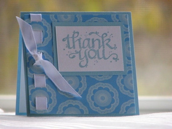 CLEARANCE - Blue Thank You Card