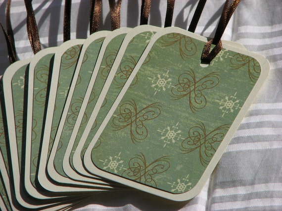CLEARANCE Simple Swirls Soft Green & Brown Gift Tags - Set of 15