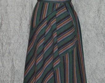 Coachella Striped Wrap Skirt with Bias Layers