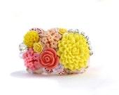 Cuff Bracelet - Vintage Kitchen Cuff in Yellows, Corals and Pinks