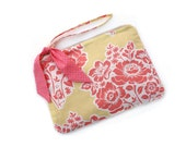 Large Wristlet Clutch in Yellow and Coral Floral Cotton Print with Tie, Zipper, Wristlet, Clutch, Handbag, Purse, Strap-READY TO SHIP