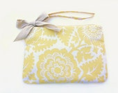 Large Wristlet Clutch in Yellow Floral Cotton Print with a Natural Twill Bow, Zipper, Wristlet, Clutch, Handbag, Purse, Strap