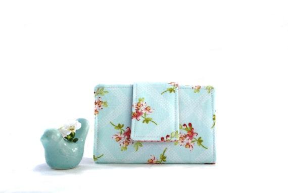 Card Wallet- Aqua Floral Cotton