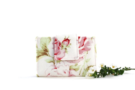 Business, Credit, Gift Card Holder, White, Pink, Green Floral, Shabby Chic