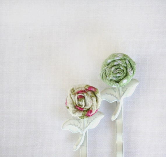 Tiniest Rose Bobby Pin Set- Green and Pink Fabric Roses on White Metal Bobby Pins with Leaves