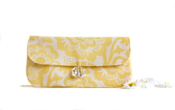 Wristlet Clutch- Large Yellow Floral and Cream Cotton Print with  Removable Strap
