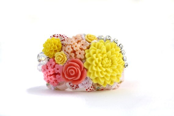 Cuff Bracelet - Vintage Kitchen Cuff in Yellows, Corals and Pinks