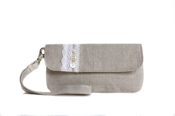 Wristlet Clutch- Natural Linen and Crochet Lace with Vintage Buttons and  Removable Strap