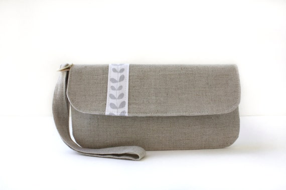 Natural Linen Wristlet Clutch with Vintage Button and  Removable Strap