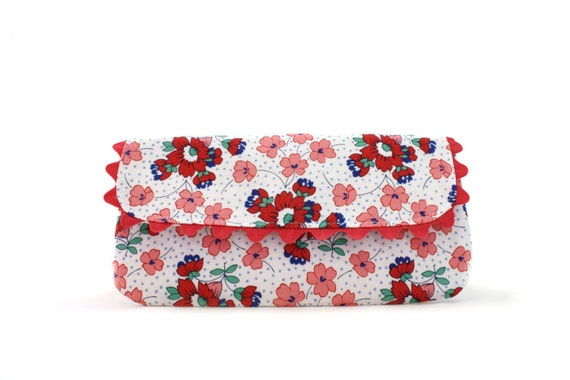 Floral Wristlet Clutch with Removable Strap, Coral, White, Blue, Purse, Wallet