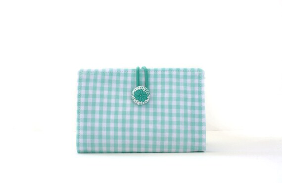 Mint Check Business Card, Gift Card, Credit Card, Case, Holder, Wallet, Covered Button Closure