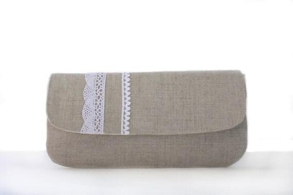 Wristlet Clutch- Natural Linen and Crochet Lace, Purse, Wallet, Handbag
