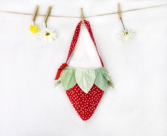 Girls Strawberry Tote, Purse, Bag, Handbag, Red, Green, Polka Dot, Children, Kids, Girls