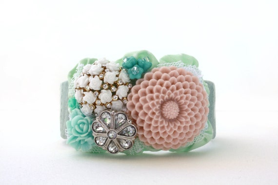 Minty Pink Vintage Inspired Cuff Bracelet in Pale Pink and Mint, One of a Kind, Jewelry, Unique Jewelry
