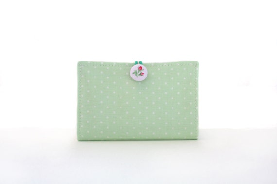 Business Card Holder in Mint Green Polka Dot
