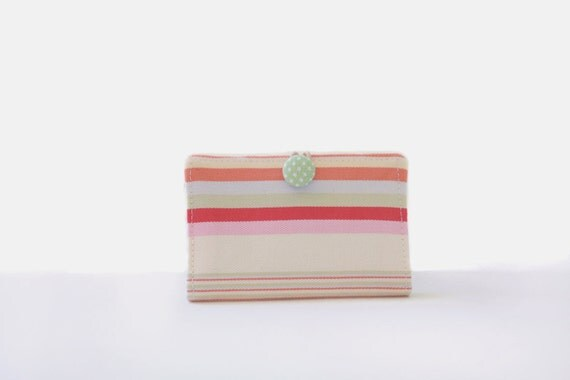 Business Card Holder in Summer Stripes, Gift Card, Credit Card Case, Holder, Wallet, Covered Button Closure