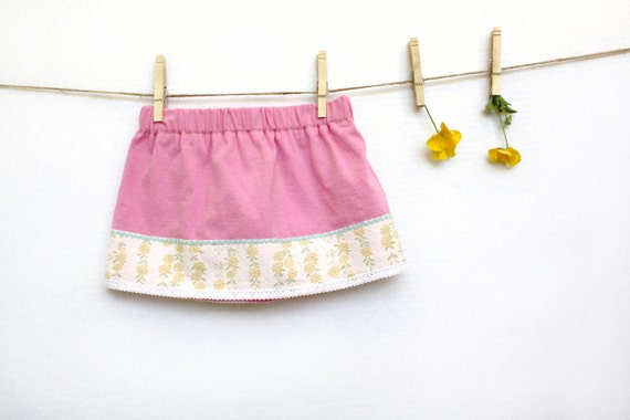 Childrens Clothing, Skirt for Girls,  Size 2/3,  Pink, Yellow, Kids, Ready to Ship