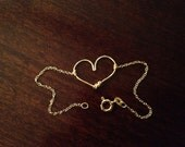 Dainty 14k Rose Gold-plated  or Sterling Silver Heart Bracelet