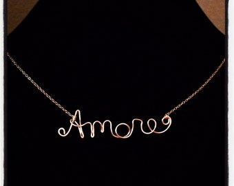 Dainty Love Necklace - Amore, Love, Gioia, Valentine - 14k Gold, Sterling Silver, or 14k Rose Gold