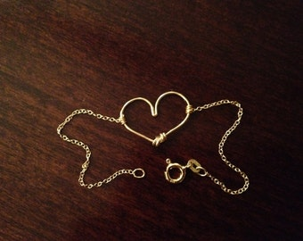 Dainty 14k Rose Gold-plated  or Sterling Silver Heart Bracelet