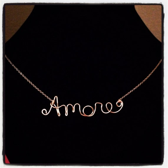 Dainty Italian Necklace - Amore, Gioia, Love - 14k Gold, Sterling Silver, or 14k Rose Gold