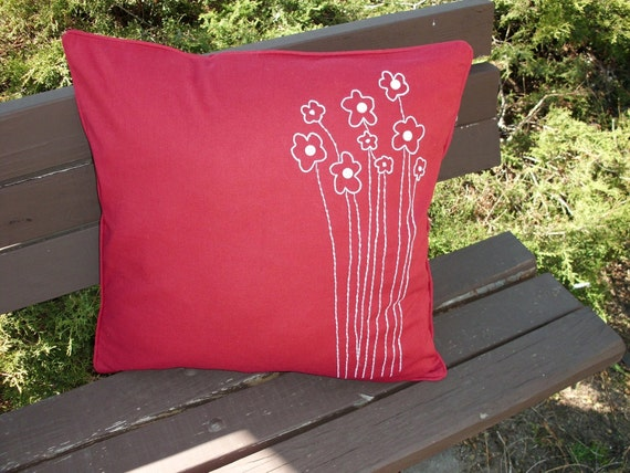 """New """"Blooming Flowers"""" Red 20x20 Cushion cover"""