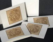 greeting cards - pyrography - celtic seahorse blank cards set of 4