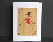 Christmas cards - pyrography - Snowman Christmas cards set of 4