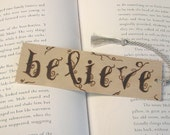 Wooden bookmark - Hand Pyrography - Believe