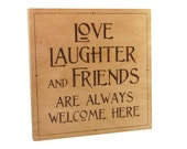 Love Wall Art - Creative Wood Pyrography - Love, Laughter and Friends Wall Hanging