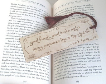 Wooden Bookmark - Hand Pyrography - Mark Twain Quote