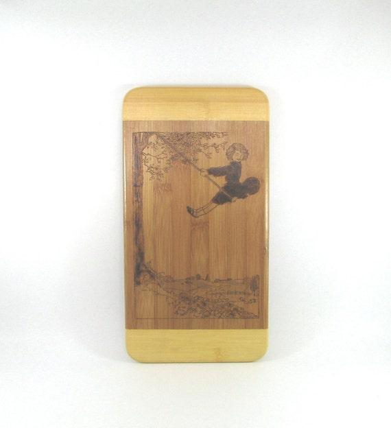 Bamboo Wall art - Wood Pyrography - Girl on Swing