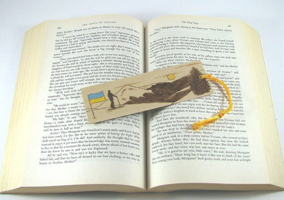 Custom order for Tatiana - Wooden bookmark - wood pyrography - skier on mountain