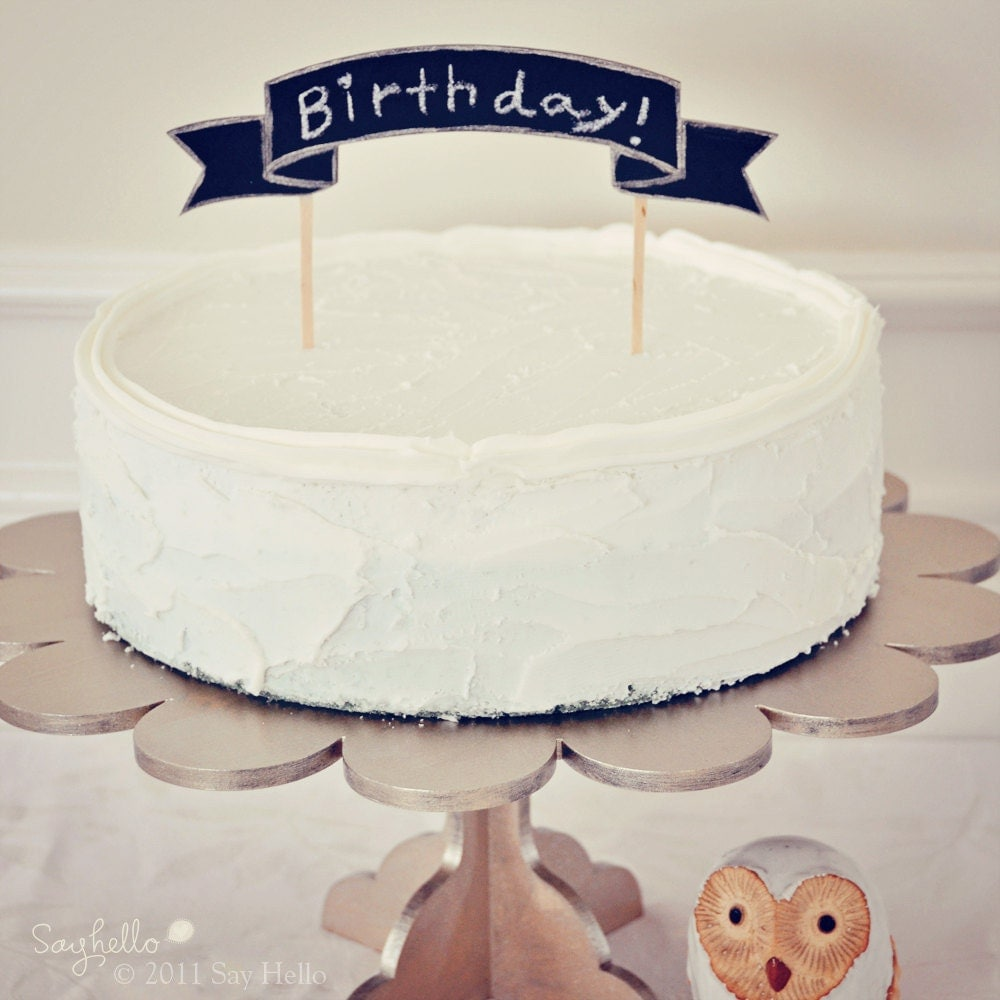 DIY Banner Cake Topper For Birthday Or Wedding By Sayhelloshop