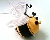 Quilled Bee Ornament in Black and Yellow