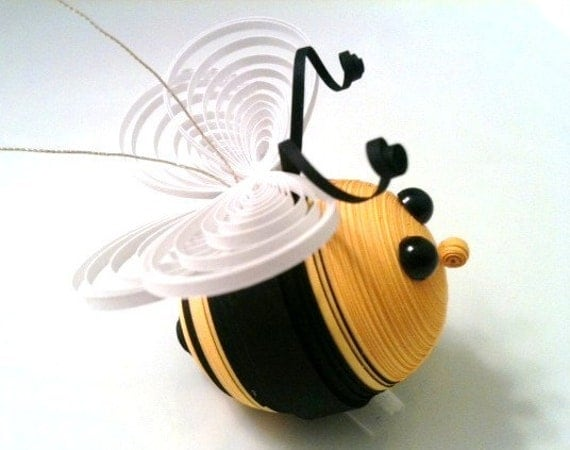 Bee Ornament Christmas Decoration Black And Yellow Striped