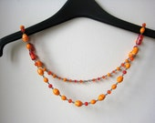 Orange necklace, tangerine, red, glass, copper, spring necklace