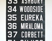 San Francisco Trolley/Bus Scroll Destination Roll Sign Crescent/Noe/Ashbury/Eureka/Miraloma/Corbett/Excelsior