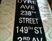 NYC Cloth Subway Roll Sign - Gun Hill Road Dyre Ave 238th Street 139th St 3rd Av