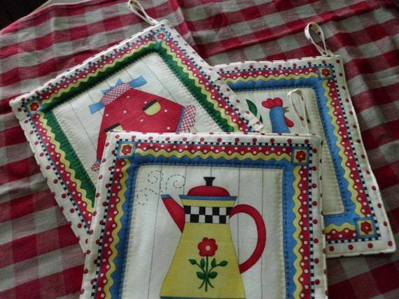 handmade potholders set of 3 coffee pot rooster apron