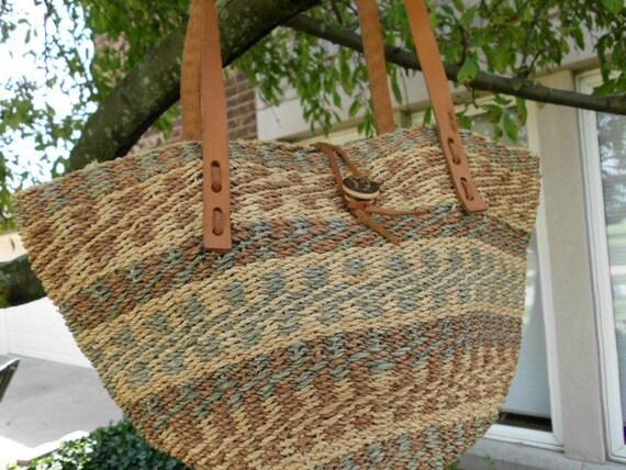 Reserve for Linda  Sisal purse vintage market tote summer carryall 1970s
