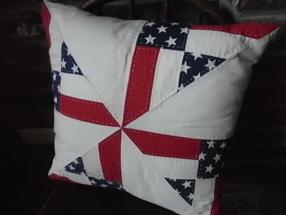 Vintage patriotic red white blue hand quilted pillow