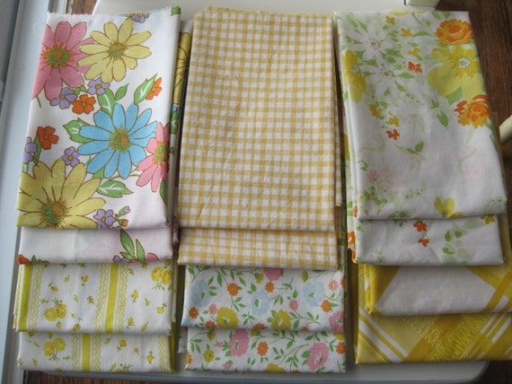 Vintage fabric bundle of 12 yellow fat quarters -  six prints, two of each