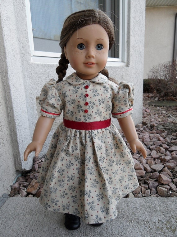 Tan, Red and Blue Prairie School Dress for 18 inch doll