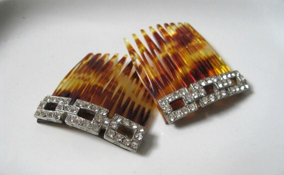 French Rhinestone Faux Tortoise Combs in Art Deco Chainlink Design
