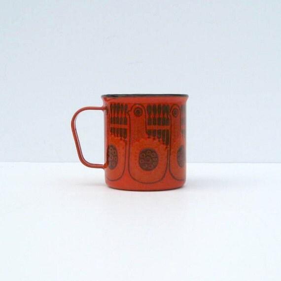 Vintage Finel Enamel Red Bird Cup by Kaj Franck - ARABIA Finland - Only one of three left.